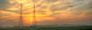 RAF Swingate Radar Pylons - Sunset - Panoramic