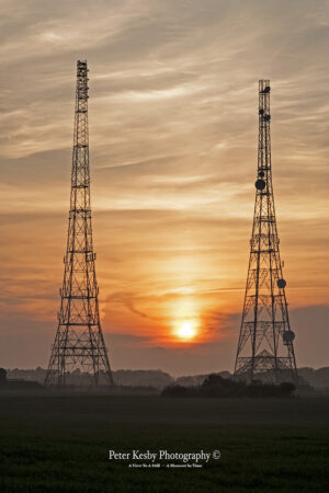 RAF Swingate Radar Pylons - Sunset