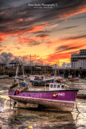 Purple Fishing Boat - Harbour - Sunset