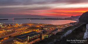 AF008 sunset over harbour from cliffs pano