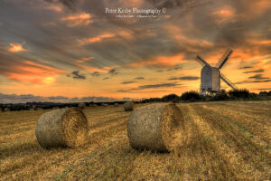 AP009 chillenden windmill hay bales sunset