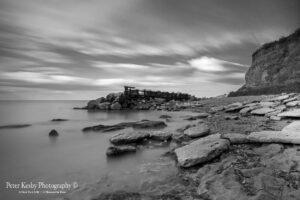 AW011 reculver beach long exposure mono
