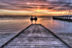 BJ002 fish boat down the ramp sunset