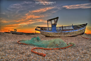 BN003 fishing boat net sunset